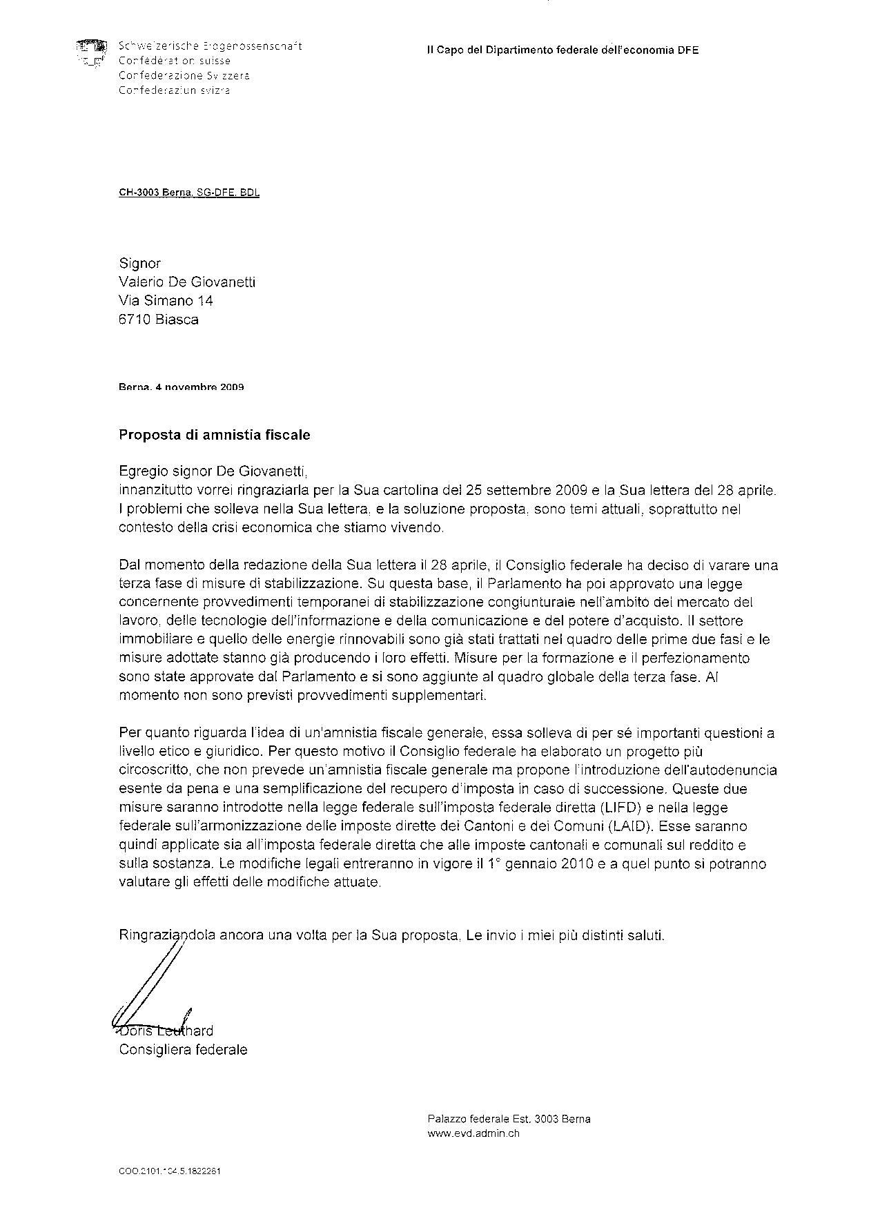 Leuthard - risposta 4.11.09 -mia amnistia 04.2009